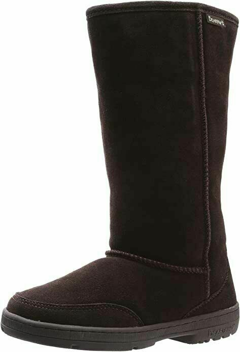 BEARPAW Women's Meadow Mid Calf Boot Chcolate Brown Suede Fur Lined