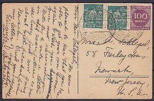 DR-Mi-Nr-244-268-MiF-auf-AK-Muehle-Schwarzwald-gel-nach-New-Jersey-USA-1923