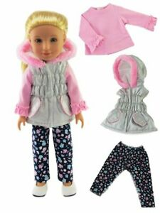 Puffer-Vest-Pants-Top-14-034-Doll-Clothes-Fit-American-Girl-Wellie-Wishers-Dolls