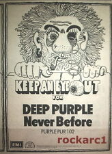 "DEEP PURPLE Never Before 1972 UK Press ADVERT 8x5"""