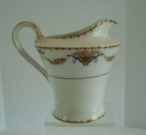 VTG Antique Haviland Limoges France Pitcher Creamer POMONA (Black Verge) EUC