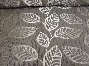 Hoja-De-Abedul-Sterling-Gris-Seda-De-Imitacion-Cortina-Jacquard-artesania-Tela-de-tapiceria