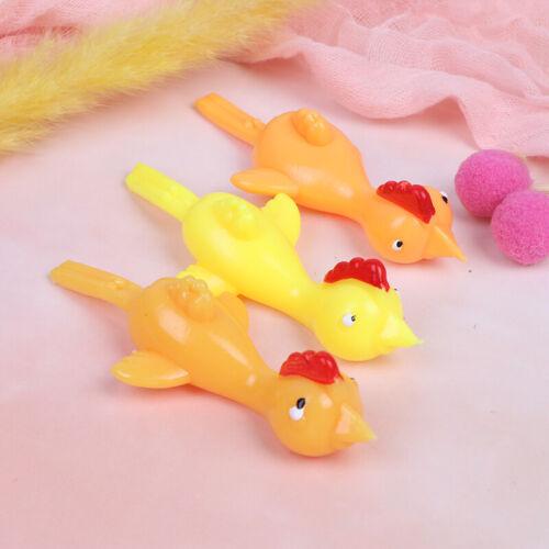 Novelty Funny Sticky Flying Rubber Sling Shot Chicken Flying Finger /_wk