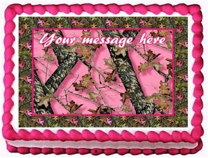 Image Is Loading PINK CAMO TREE CAMOUFLAGE Edible Cake Topper