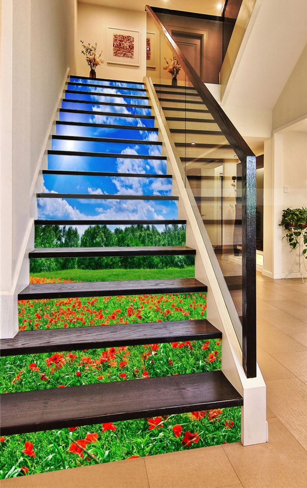 3D Sky flower field Stair Risers Decoration Photo Mural Vinyl Decal WandPapier AU