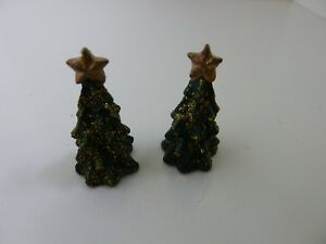 Dolls-House-Miniature-1-12-USED-EX-DISPLAY-Christmas-2-Small-Green-Resin-Trees
