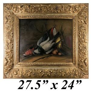 Superb-Antique-French-Oil-Painting-Nature-Morte-Signed-by-Artist-Orig-Frame
