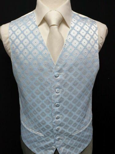 M53 Mens Blue Diamond Wedding Evening Formal Suit Waistcoat