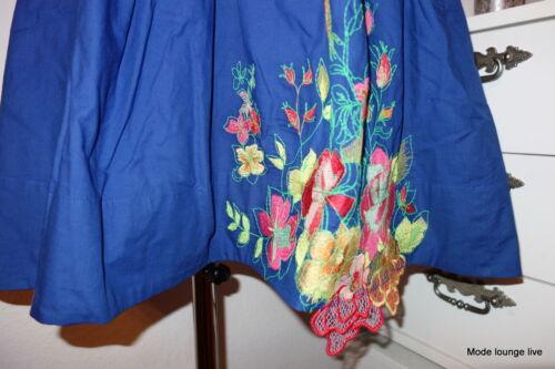 Ivko Kleid blau china dress Stickerei blue S 36 M 38 Baumwolle cotton summer