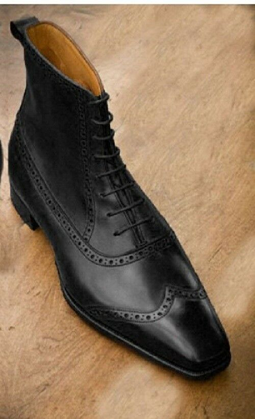 Handmade Men wing tip brogue ankle boots Men real leather boots Men lace up boot