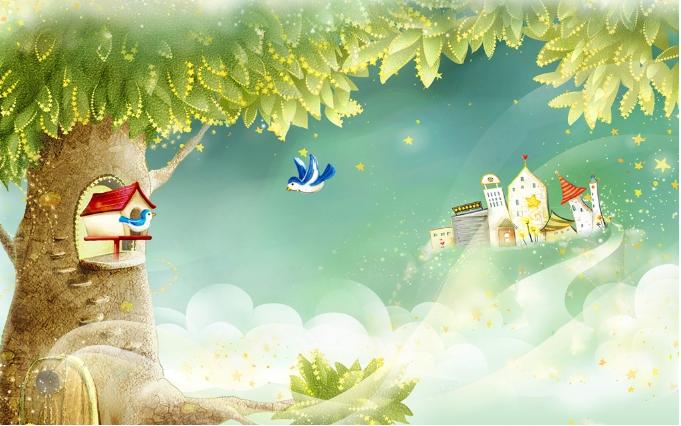 3D 3D 3D Baum Cartoon Häuser 8 Tapete Tapeten Mauer Foto Familie Tapete Wandgemälde DE 478ef7