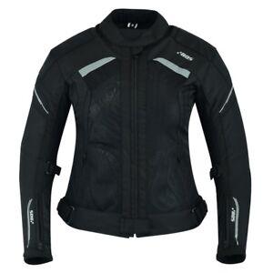 Damen-Motorrad-Jacke-Tourenjacke-Schwarz-Damen-S-M-L-XL-XXL-XXXL