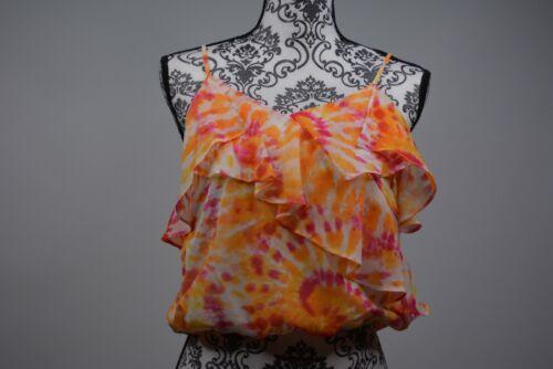 Details about  /The Edit By Seventeen Junior Orange Printed Ruffled Crop Top Size Medium