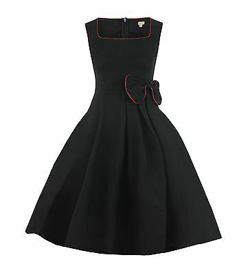NEW CLASSY VINTAGE 1950's ROCKABILLY STYLE BLACK BOW SWING PARTY EVENING DRESS