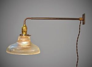 vintage industrial wall mount light holophane ribbed. Black Bedroom Furniture Sets. Home Design Ideas