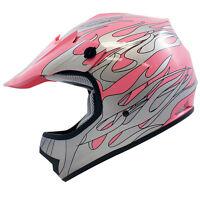 Youth Kids Pink Silver Flame Dirt Bike Motocross Off-road Atv Helmets,m,l