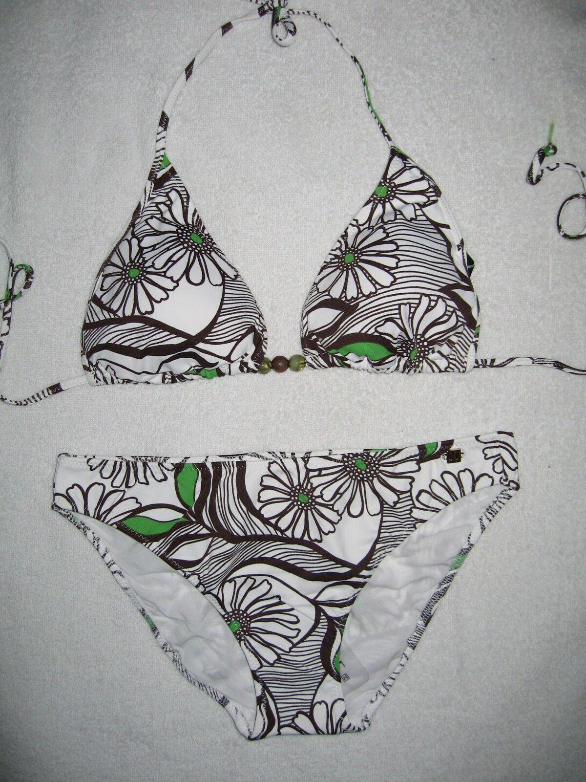 Jette Joop Triangle Push Bikini Size 34 C-D White Fleurs NEW