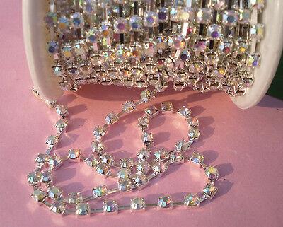 10yards Clear AB crystal rhinestone close silver cup chain trims ss6/12/16/18/20
