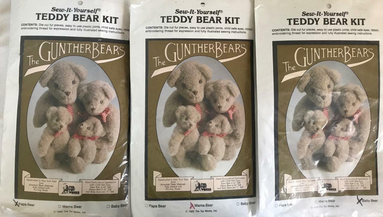 3 GUNTHER BEARS Teddy Bear KITSPapa+Mama+BabyThe Toy WorksComplete NOS7 -12