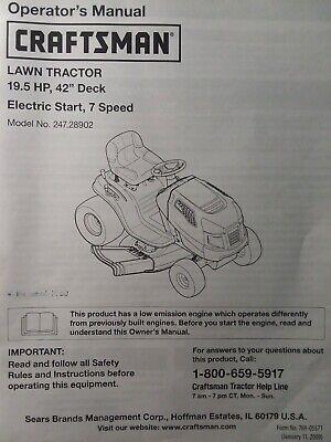 "sears craftsman 195 hp lawn tractor  42"" mower owner  parts manual  24728902  ebay"