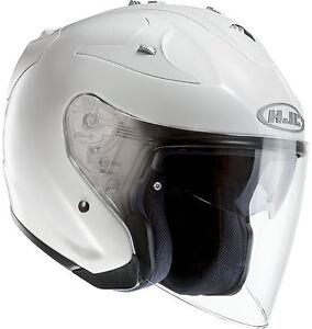 hjc fg jet open face motorcycle helmet gloss white ebay. Black Bedroom Furniture Sets. Home Design Ideas