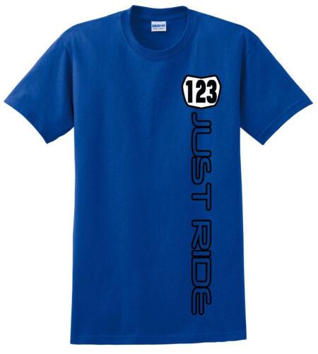 BLUE MOTOCROSS T SHIRT JUST RIDE CUSTOM NUMBER PLATE YOUTH CHILD MOTO YAMAHA YZ