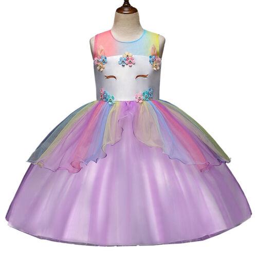 Infant Baby Girls Princess Unicorn Tutu Tulle Dress Holiday  Party Wedding Gown
