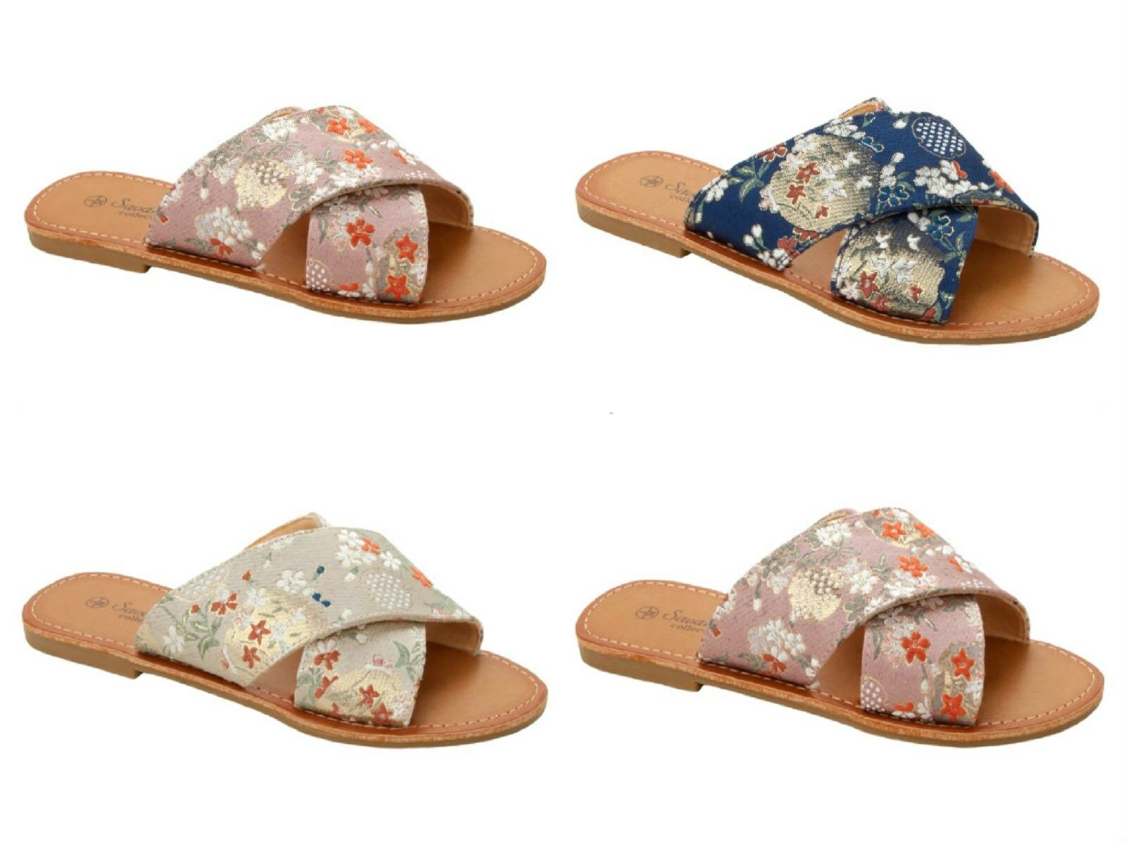 WOMENS FLORAL EMBROIDERED FLIP FLOP SLIDERS MULES 3-8 SUMMER SANDALS LADIES SIZE 3-8 MULES 1ca1fa