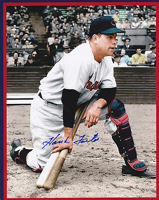 HANK FOILES  CLEVELAND INDIANS    ACTION SIGNED 8x10