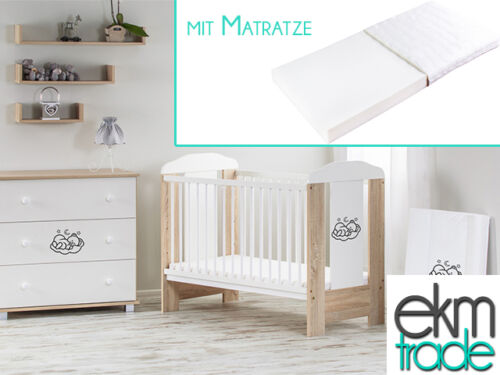 Babybett Kinderbett 120x60 Holz Gitterbett mit Matratze GRATIS sonoma ekmTRADE