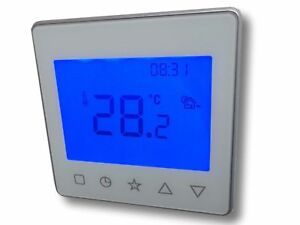 Room-Thermostat-Programmable-Weekly-Program-Touchkey-Controls-White-837