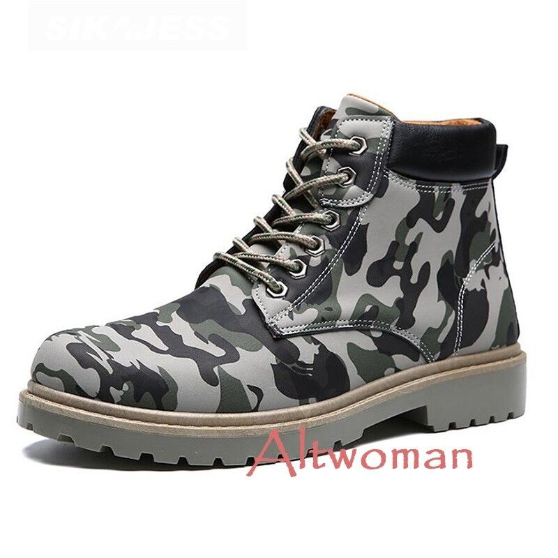 Hot Fashion Mens Camo Casual High Top Lace Up Military Ankle Boots Comfort shoes