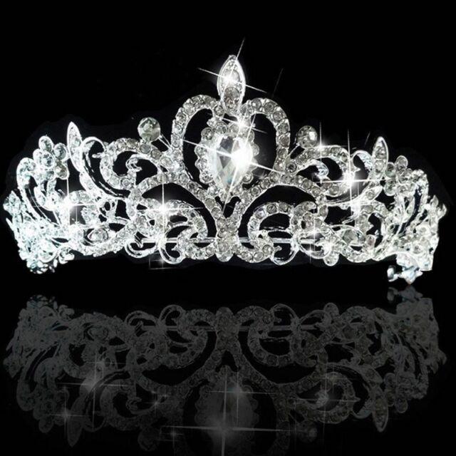 Bridal Bridesmaid Wedding Prom Crystal Diamante Rhinestone Crown Tiara Headband