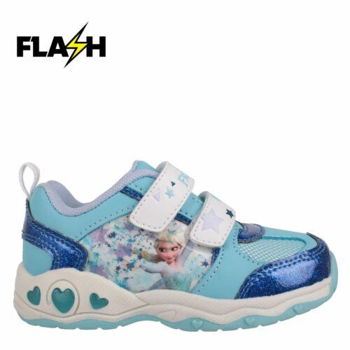 Character Disney Frozen Elsa Kids Light Up Trainers Girls Reinforced Shoes