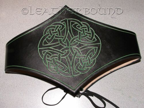 SCA Cosplay Leather Celtic Hand Carved Kidney Belt Waist Cincher LARP