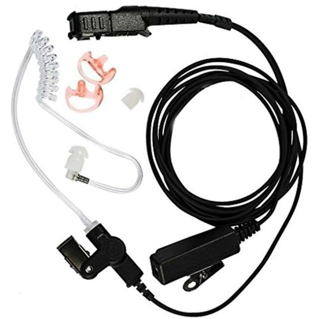 2-Wire FBI Acoustic Clear Coil Tube Headset Earpiece for Motorola CP200D CP150