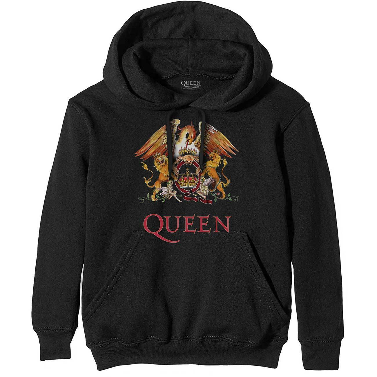 Offical QUEEN Classic Crest Pull Over Hoodie New FROTdie Mercury May