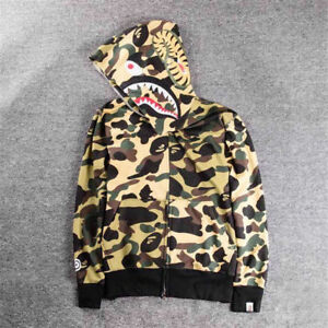 fd83d1602242 Hot BAPE A Bathing Ape Hoodie Sweats Camo Men  s Shark Head Full Zip ...