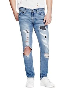 9e0bb175 $108 Guess Men's Slim Tapered Jeans In Charger Blue Wash With ...