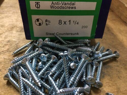 8 10 12 gauge ANTI VANDAL CLUTCH HEAD SCREWS TAMPERPROOF 1 WAY SECURITY BZP csk