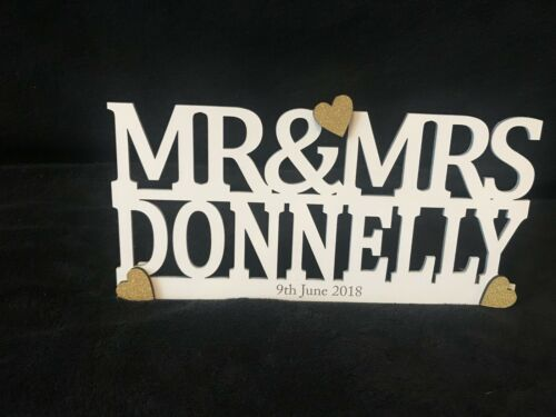 Personalised Mr and Mrs Sign Wedding Top Table Decoration Freestanding /& Date