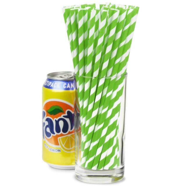 "50x Green White Striped Paper Straws 8/"" Retro Straw Cocktail Drinking Bar"
