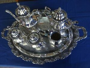 VINTAGE-6-PIECE-SILVER-TEA-amp-COFFEE-SET-LANCASTER-ROSE-BY-POOLE-400-EPCA