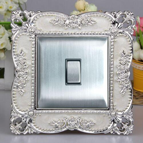 De Luxe Gaufrage Acrylique Blanc Surface /& Argent Bord Interrupteur Lumière
