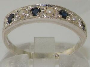 Solid-14K-White-Gold-Genuine-Natural-Sapphire-amp-Pearl-Eternity-Ring