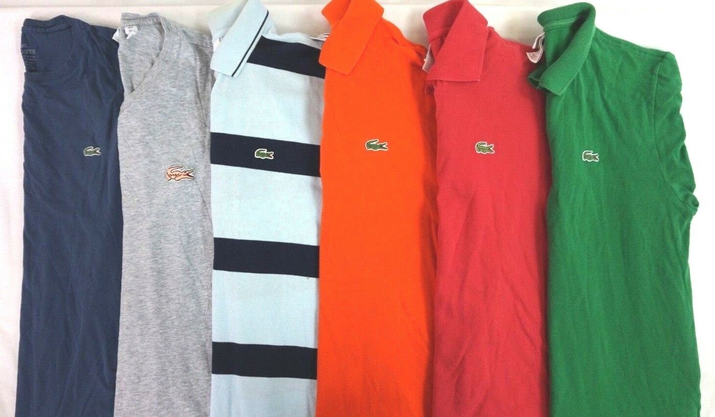 LACOSTE Lot of 6 Men's 100% Cotton Short Sleeve Polo   Tee Shirts Size 5   US L