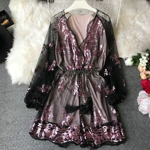 Lady-Sequin-Embroidery-Jumpsuit-Mesh-Culotte-Shorts-Glitter-Bodysuit-Long-Sleeve