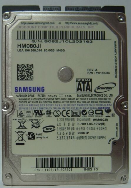 Samsung HM080JI 80GB 2.5in SATA Drive Tested Good Free USA Shipping