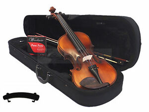 New-Student-4-4-Antique-Style-Violin-Bow-Case-Rosin-Shoulder-Rest-String-Set