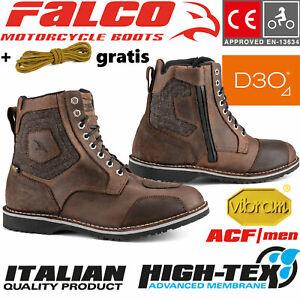 FALCO-Motorradschuhe-RANGER-braun-CE-Stiefel-Protektor-gratis-Schnuersenkel-Gr-47